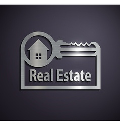 Flat metallic logo real estate vector