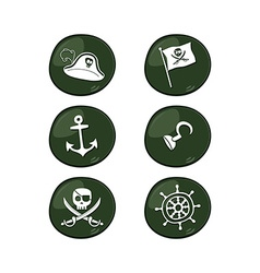 Pirate sign icon set vector