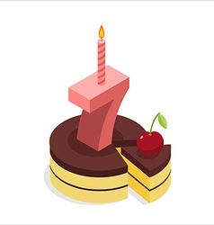 Birthday 7 years Cake and Candle isometrics Number vector image