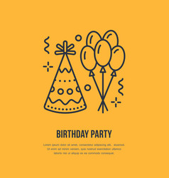 Birthday party line icon logo for party vector