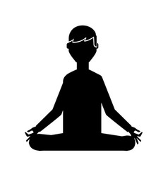 black icon lotus pose cartoon vector image