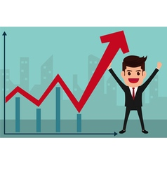 Business man holds in hand to raise the graph vector image vector image