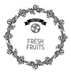 Citrus vintage round frame vector