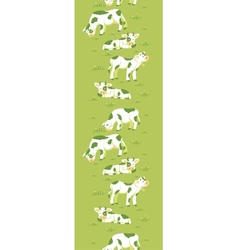 Cows on the field vertical seamless pattern vector image