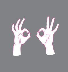 Gesture okey sign two female hands with index vector