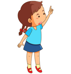 girl with finger pointing up vector image vector image