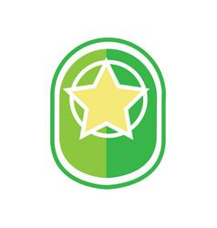 Green star army badge vector