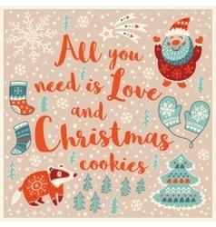 Greeting holiday card with santa badger socks vector