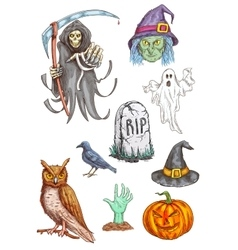 Halloween Part invitation card sketched elements vector image vector image