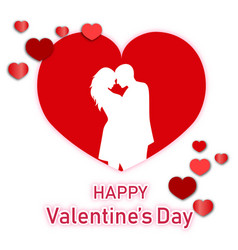 happy valentine day man and woman in red heart whi vector image