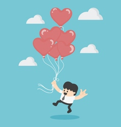 Holding Red heart balloons vector image vector image
