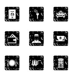 Hostel accommodation icons set grunge style vector