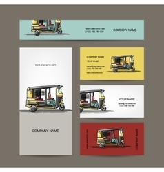 Indian taxi car business cards for your design vector image vector image