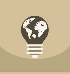 Light save planet on ecology style lamp with map vector