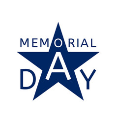 Memorial day emblem in the form of a blue star vector