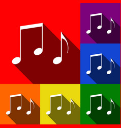 Music notes sign set of icons with flat vector