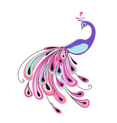 Peacock with colorful feathers vector