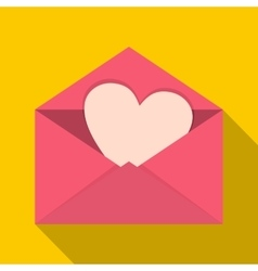 Pink envelope with Valentine heart icon flat style vector image vector image