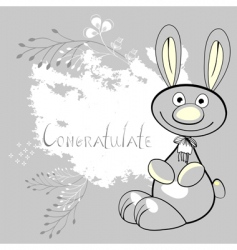 rabbit on grunge floral background vector image