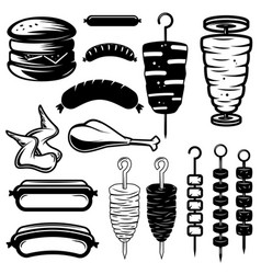 set of street food design elements burger hot dog vector image