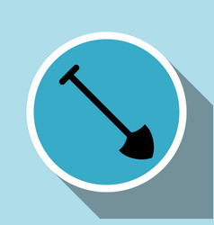 shovel silhouette icon with long shadow vector image vector image