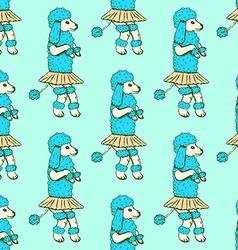 Sketch dancing poodle in vintage style vector image vector image