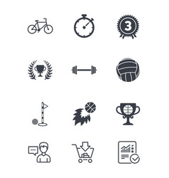 Sport games fitness icon bike basketball vector