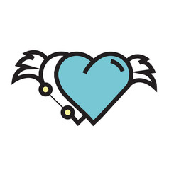 Two hearts wings pen tool design blue vector