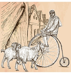 Velocipede - bicyclist an hand drawn picture line vector