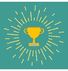 Winner gold cup trophy Award symbol in flat design vector image