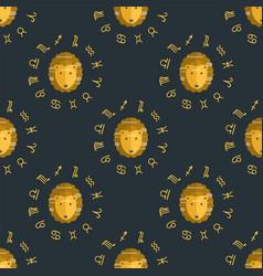 zodiac lion seamless pattern horoscope astrology vector image