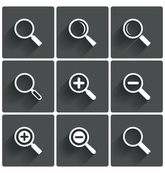 Zoom icons Search symbols Magnifier Glass signs vector image