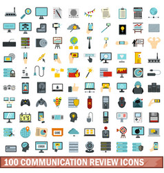 100 communication review icons set flat style vector