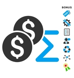 Coin summary flat icon with bonus vector