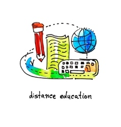sketch watercolor icon design distance education vector image