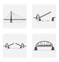 monochrome icon set with bridgework vector image