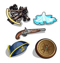 set of pirate hat gun and antique compass vector image