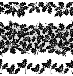 Seamless oak branches silhouettes vector image