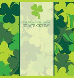 Scatter st patricks day shamrock card in format vector