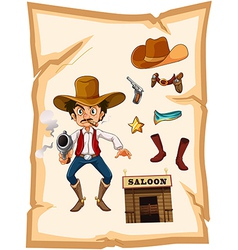 A poster with an armed old cowboy and a saloon bar vector