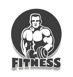 Gym emblem with bodybuilder vector