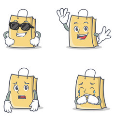 Set of bag character with cool waving afraid vector