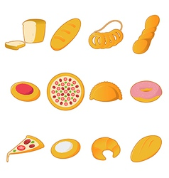 Collection of bread icons vector