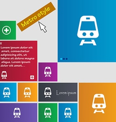Train icon sign metro style buttons modern vector