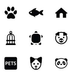 Pets icons 9 icons set vector