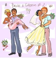 Bride and groom set 2 vector