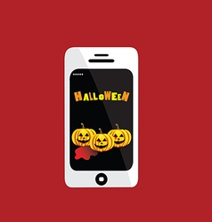 Halloween day in telephone on red background vector