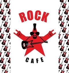 Rock Cafe Logo template for music rock bar Star vector image