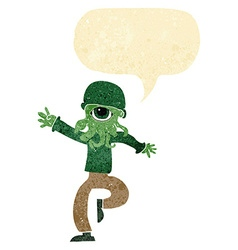 Cartoon alien monster man with speech bubble vector