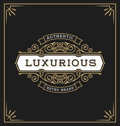 Vintage flourish logo label template vector